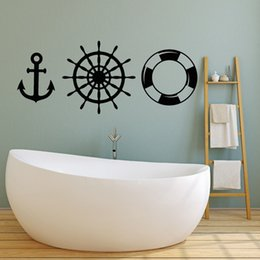 Kids Bathroom Wall Decor Australia - Newly Arrivals Boat Tool Vinyl Wall Decal Anchor Lifebuoy Ocean Style Ship Sticker Bathroom Wall Decor Kids Room Wallpaper