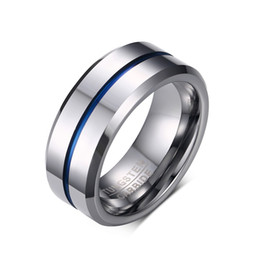 8MM Mens Wedding Band Thin Blue Line Plated Tungsten Carbide Ring
