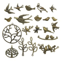 bird connectors NZ - Bird Branch Connector Charms 50pcs Mixed Antique Bronze Charms Pendants for Crafting Jewelry Accessory For DIY Necklace Bracelet