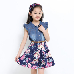 $enCountryForm.capitalKeyWord NZ - Kids girls summer dresses baby jean blue floral printed patchwork dress children princess beautiful clothes for party 3-11 Years