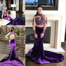 ce39930147 Más el tamaño, dos piezas, púrpura, vestidos de baile, cuello alto, con  cuentas, encaje, espalda abierta, sirena, vestido de noche, manga larga,  terciopelo, ...
