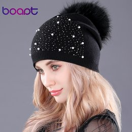 Cashmere Beanies Australia - [boapt] rhinestones diamond pearl double-deck knitted cashmere winter hats women cap real raccoon fur pompom hat female beanie S18120302