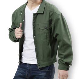 $enCountryForm.capitalKeyWord Australia - Spring and Autumn Men's Large Size Jacket Men's Korean Edition Loose Casual Denim Jacket Color Black Army Green Size L-7XL