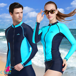 wetsuit swimming man 2019 - Men's UV Sun Protection Long Sleeve Rash Guard Wetsuit Top Swimwear Solid Men Competitive Shirt Swim Suit Tops Kite