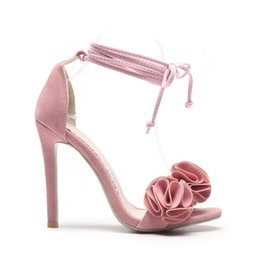 orange flower sandals NZ - 2020 China Flower Girls Shoes Ankle Strap Pink Suede Thin High Heeled Pumps New Design Fashion Big Sizes Peep Toe Womens Sandals