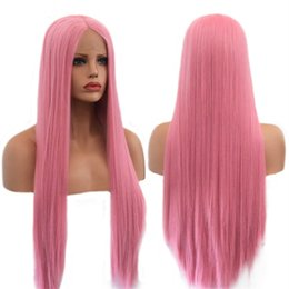 $enCountryForm.capitalKeyWord Australia - Top Quality Cosplay Long Straight Hair Wig Lace Front Wigs with Natural Hairline Pink Color High Temperature Fiber Synthetic Wig for Women