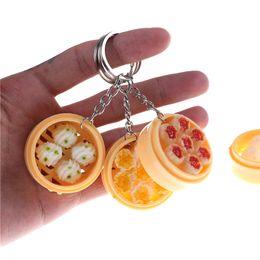 Bun Steamer Australia - New Simulation Key Chains Noodle Creative Keychain Chinese Steamed Bun Dumpling Mini Steamer Bag Pendant