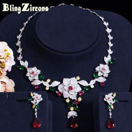 $enCountryForm.capitalKeyWord NZ - BlingZircons Colorful Cubic Zircon Flower Drop Earring Necklace Heavy Dinner Jewelry Set Wedding Bridal Dress Accessories JS156