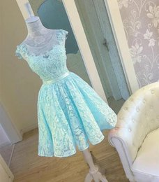 $enCountryForm.capitalKeyWord Australia - Chic Scoop Sleeveless Lace Juniors Prom Dresses with Corset Light Turquoise Homecoming Dresses Short Open Back Party Cocktail Dresses
