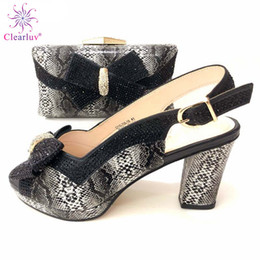 $enCountryForm.capitalKeyWord Australia - 2019 Special Design Black Color Royal Wedding Clutch Bag Match African Women Shoes and Bag Matching Set with Comfortable Heels