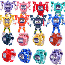 Wholesale New Arrival Kids Electronic Watches Deformable Wearable Watches Cartoon Mecha Robot Toys Children's Toy Watches