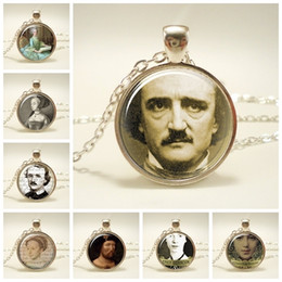 necklaces pendants Australia - Edgar Allan Poe Photo Glass Cabochon Pendent Necklace Vintage Art Pendant Silver Long Chain Necklace