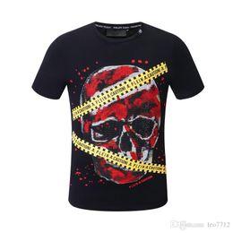 1e5ce38d high quality 18ss Fashion Short Sleeve 100% Cotton shirt men famous Brand P t  shirts for men hip hop skull mens tee