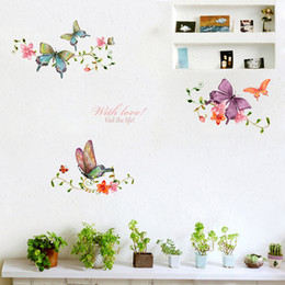 wall sticker pvc vine flower butterflies Australia - Butterfly Flower Vine Wall Stickers Living Room Showcase Door Home Decoration Mural Art Decals Background Butterflies Stickers
