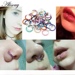 nose piercing titanium UK - Alisouy 2 PCS Medical Nostril Titanium multi-color Nose Hoop rings clip on nose ring Body Fake Piercing women men body Jewelry