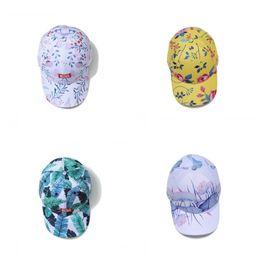 Fiber graFFiti online shopping - Lotus Flower Graffiti Baseball Cap Summer Printing Male Female Duck Tongue Hat Flat Edge Snapback Leisure Yellow Green nu C1