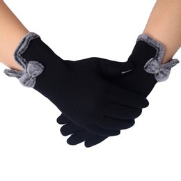 Wind Gloves Australia - 2018 Women Fashion Fluffy Winter Warm Full Finger Hand Gloves Ski Wind Protect Hands Red Purple Black Gray Brown Color