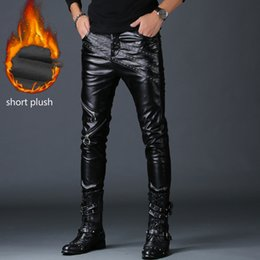 fake clothes 2019 - 2019 new fashion men slim fit PU faux leather pants black fake zippers hip hop rock clothing motorcycle skinny trousers