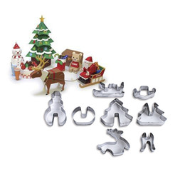 Moulding Cutters Australia - 8pcs set 3D Christmas Cookie Cutter cake Baking mould Cake Cookie Mold Fondant Cutter DIY Baking Tools Moulds Decorating tool FFA1391