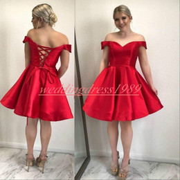 42ef832259fc2 Junior prom dresses knee length online shopping - Simple Style Satin Homecoming  Dresses Off Shoulder Capped
