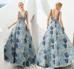 blue floral print evening gown Australia - Vintaege Blue Floral Print Prom Dresses 100% Real Pictures Open Back Evening Gown Luxury Beaded Formal Party Pageant Dresses 2020