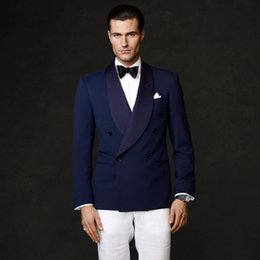 $enCountryForm.capitalKeyWord Australia - Custom Made Navy Blue Double Breasted Shawl Lapel Men Suit Formal Slim Fit 2 Piece Tuxedo Groom Blazer Masculino (Jacket+Pants) L628