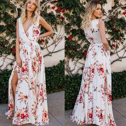 02047fb2eba Summer Bohemian Printed Flora Women Casual Dresses Split A Line Deep V Neck  Flowy Party Dress Vestidos Beach Holiday Dress FS5334