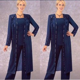 Custom Color Suit Sequin Australia - Eleagnt Grandmother of the bride pant outfits Pant Suit Women for Wedding For Men Wedding Long Jacket With Crystal Square Neck Custom Made