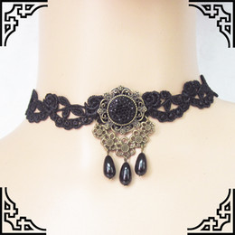 Discount gothic victorian chokers - 1PC Women Black Lace& Beads Choker Victorian Steampunk Style Gothic Collar Necklace Gift