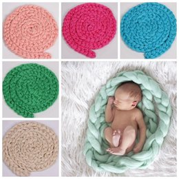 Handmade Crochet Baby Blankets Australia - Soft Adorable Newborn Crochet Photography Props blanket handmade Baby Costume Wrap Accessories Tools twisted braided photographic props