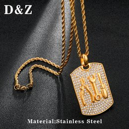 gold pendant d NZ - D&Z Iced Out Bling Rhinestone Tools Dog Tag Pendant Necklace Gold Color Hip Hop Accessories For Men Jewelry