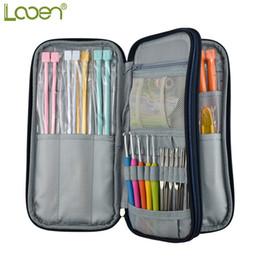Cases For Scissors Australia - Looen Dark Blue Empty Hook Storage Pouch Knitting Kit Case Organizer Bag For Sewing Crochet Needles Scissors Ruler Q190531