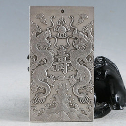 Chinese Carving Dragon Australia - The Ancient Chinese Tibet Silver Hand Carved Dragons Gossip Pendant RY011 Statue Collection Crafts Decoration Furniture Ornamental