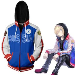 Wholesale yuri on ice cosplay resale online - 2020 Anime D YURI on ICE Cosplay Costume Yuri Plisetsky Blue Halloween Jacket Hoodie Long Sleeve Zipper Coat Casual Uniform