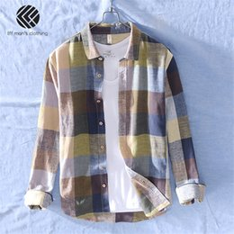 Shirt brandS china online shopping - Men Spring And Autumn Fashion Brand China Style Vintage Colorful Plaid Cotton Linen Long Sleeve Shirt Male Casual Thin Shirts