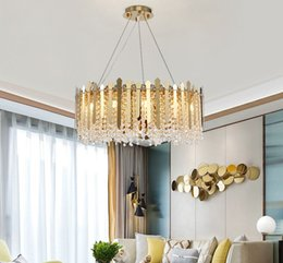 adjustable pendant lamp Canada - New arrival contemporary luxury crystal chandelier lighting gold chandeliers lights adjustable led pendant lamps for hotel villa MYY
