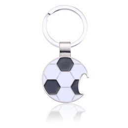 $enCountryForm.capitalKeyWord UK - Black White Soccer Key Ring Trendy Football Key Chain Creative Beer Bottle Opener Keychain Enamel Unisex Sport Jewelry Chaveiro