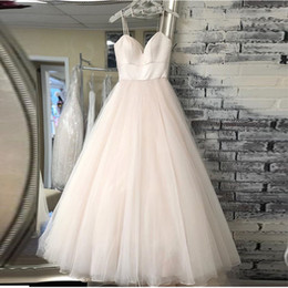 $enCountryForm.capitalKeyWord Australia - New Spaghetti Strap Beach Wedding Dresses 2020 Vestido Noiva Praia Simple White Ivory Tulle Casamento Bridal Gown Custom Made