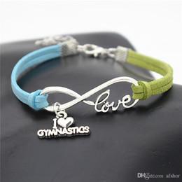 $enCountryForm.capitalKeyWord NZ - 2019 New Infinity Love Gymnastics Sports Pendant Jewelry Vintage Silver Simple Blue Green Leather Suede Rope Bracelet For Women Men Pulseras