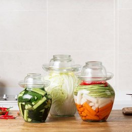 transparent cylinder NZ - 1PC Japan Korea Transparent Glass Kimchi Jar Kitchen Thickened Pickled Household Pickled Jar Pickles Cylinder Sealed