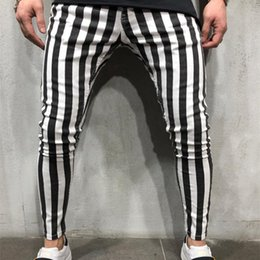 White Long Pants Men Australia - Sport Shorts Long Pants Men Sweatpants Black White Plaid Striped NEW Fashion Fitness Gym Workout Running Streetwear Sportpants