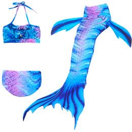 $enCountryForm.capitalKeyWord Australia - Little Mermaid Tails for Swimming Costume Mermaid Tail Cosplay Girls Swimsuit Kids Swimmable suit 4-12Y Children 3pcs set Bikini Swimwear