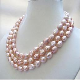 Collar de perlas de agua dulce barroco rosado natural natural de 3 hilos 8-9 mm en venta
