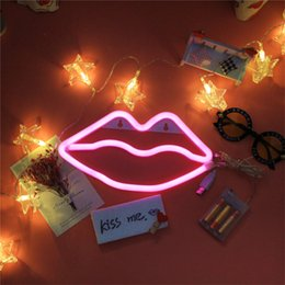 Floral Lighted Wedding Balls Australia - DELICORE Neon Night Light Lips Shaped LED Red Lamp For Baby Bedroom Wedding