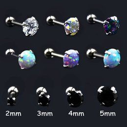 gold cartilage piercing Australia - 1 Piece Stainless Steel Prong Opal Zircon Ear Tragus Cartilage Earring Ear Stud Ring Body Piercing Jewelry 16G 2mm&3mm&4mm&5mm