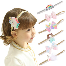 rainbow hairs Australia - New Fashion European and American baby Unicorn Rainbow Style Bow Designer headband Lovely baby girl elegant hair bows accessories