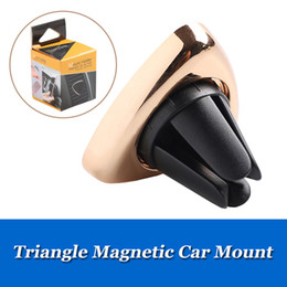 tablet clip for cars NZ - Magnetic Car Phone Holder Triangle Air Vent Mount Magnet Stand Universal For iPhone 6 6s Tablet Samsung S8 GPS Phone Brackets with clip