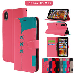 Iphone Case Double Card NZ - Wallet Flip Case For iPhone 6 6s 7 8 plus Xs Max XR PU Leather Cover Coque Double color Bag Luxury
