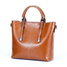$enCountryForm.capitalKeyWord Australia - Solid Color Retro Large Capacity Elegant Women's Split Leather Handbag Simple Wild Multi-Function Sweet Simple Handbag