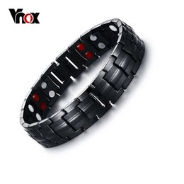 titanium sport Australia - Vnox Black Men's Titanium Bracelets & Bangles Magnetic Health Power Sports Jewelry 22cm Free Box Y19051101